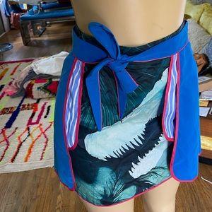 Unique wrap colorful mini skirt size S